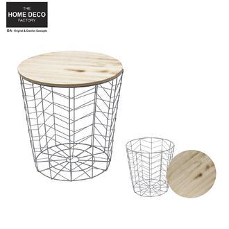 Table filaire bois et métal motif chevron gris