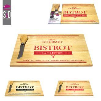Planche à fromage avec couteau en bois 28x18cm