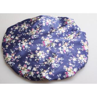 Bonnet douche bleu motif floral