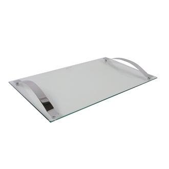 Plateau à fromage en verre avec poignées chromées 50x30cm