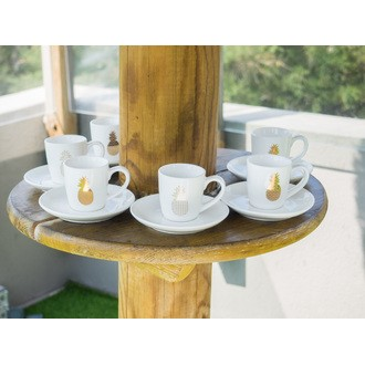 Coffret 6 tasses café ananas doré