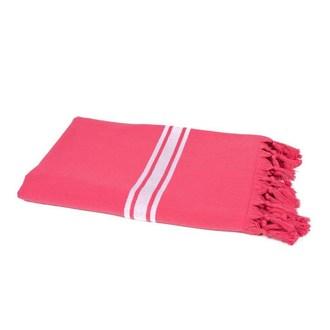 Drap de plage en coton rose frambroise 90x180