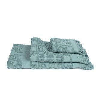 Serviette de bain céladon coton Jacquard ciselé 90x150cm