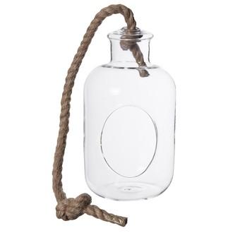 Vase bouteille à suspendre ou à poser corde d13xh28cm
