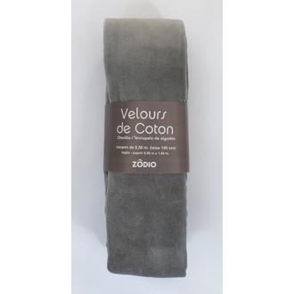 Velours de coton gris clair coupon de 0,5x1,4m