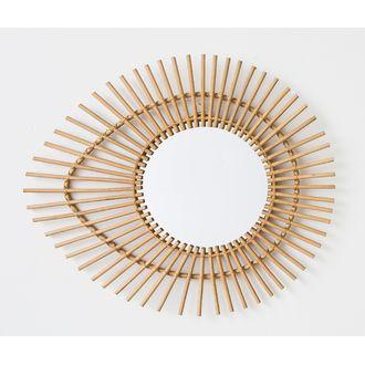 Miroir ovoïde en rotin 65x55cm