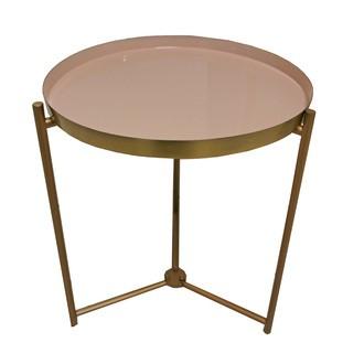 Table aspect laiton plateau émaillé blush d35xh43cm