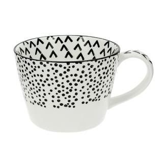Tasse, décor dessin pois noir et blanc, Pixie 14cm