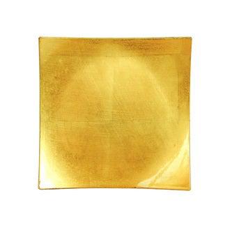 Assiette hotesse carrée or 28x28 cm