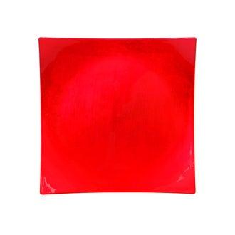 Assiette hotesse carrée rouge 28x28cm