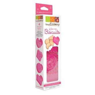 SCRAPCOOKING - Set de 4 emporte-pièces éjecteurs plastiques biscuits 6,5cm