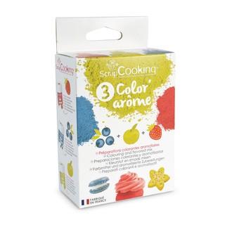 SCRAPCOOKING - Set de 3 colorants alimentaires arôme fraise, pomme, myrtille Color'arome en pot 3x10g