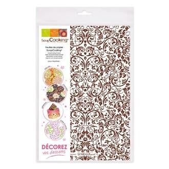 SCRAPCOOKING - Set de 2 feuilles de papier de transfert en chocolat Versailles