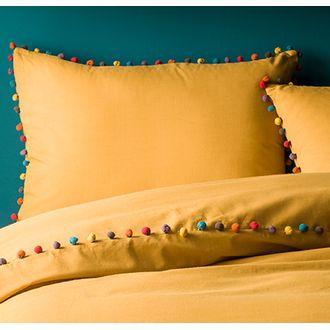 MAOM - Taie d'oreiller rectangulaire en coton curry, finition pompons Guatemala 50X70cm