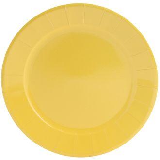 Paquet de 8 assiettes jetables en carton jaune 25cm