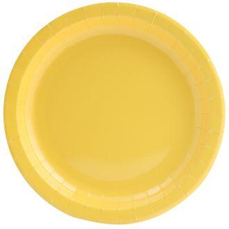 Paquet de 8 assiettes jetables en carton jaune 18cm