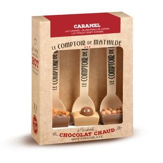 LE COMPTOIR DE MATHILDE - Coffret 3 cuillères hot choc Caramel + 90g