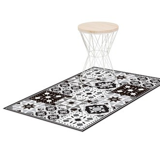 Tapis vinyle noir/blanc rhéa 49,5x83cm