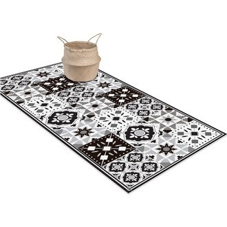 Tapis vinyle noir/blanc rhéa 49,5x116cm