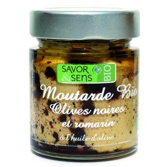 SAVOR & SENS - Moutarde aux olives noir et au romarin biologique 130g