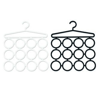 Cintre porte écharpe et/ou foulard en plastique noir et blanc