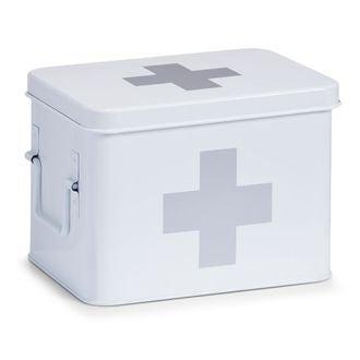 Boîte à pharmacie en métal blanc 21x16x16cm