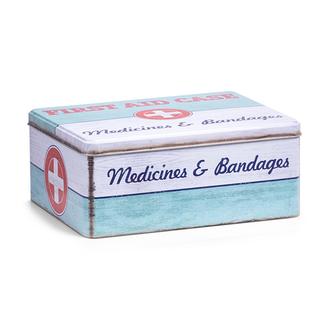 Boite à pharmacie en métal First Aid 21x16,6x8,5 cm
