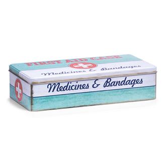 Boite à pharmacie en métal First Aid 32x15,5x8 cm