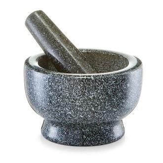Mortier avec pilon en pierre noir