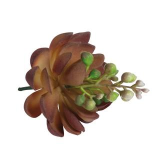 Pic  artificiel succulente fleurissante pourpre/verte d7xh9,5cm