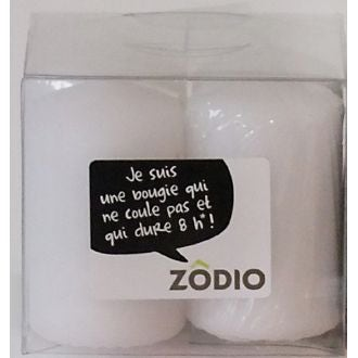 Zodio - 4 bougies votives blanche 6,5x4cm