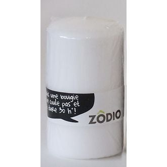 ZODIO - Bougie cylindrique blanche 10x5,7cm