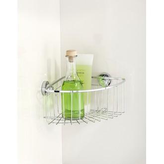 WENKO- Serviteur de douche d'angle à coller en inox droit