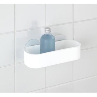 WENKO - Panier de douche rectangulaire en plastique blanc Static-loc