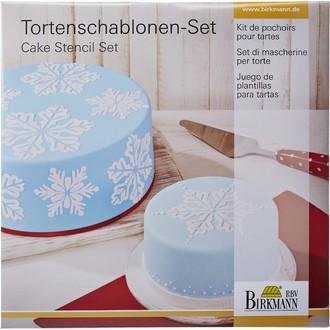 BIRKMANN - Kit pochoir à gateaux ronds et carrés 2 pieces flocons
