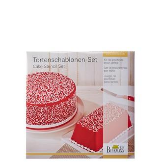 BIRKMANN - Kit pochoir à gateaux ronds et carrés 2 pieces boucles