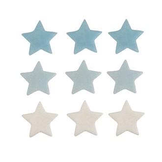 Décor en sucre étoiles bleu, argent