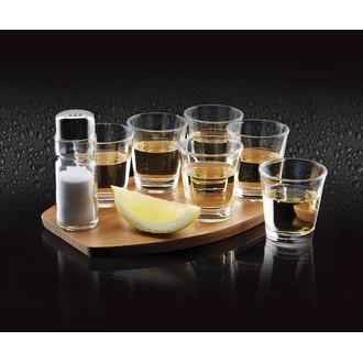 Set de 6 verres tequila acacia sur plateau en bois