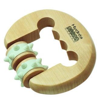 Rouleau de massage anti-stress avec main en bois 9x11cm