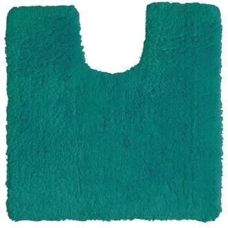 Tapis contour wc en coton bleu paon 50x50cm