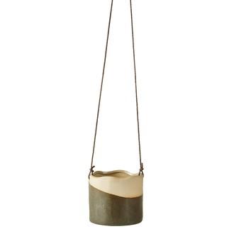 Cache pot à suspendre en céramique vert/beige ø10xh9cm à corde h3m