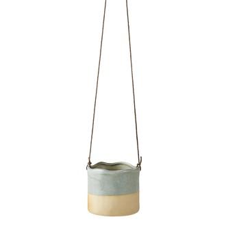 Cache pot à suspendre en céramique bleu/beige ø10xh9cm à corde h3m