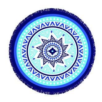 Serviette éponge ronde bleu Naxos ø150cm