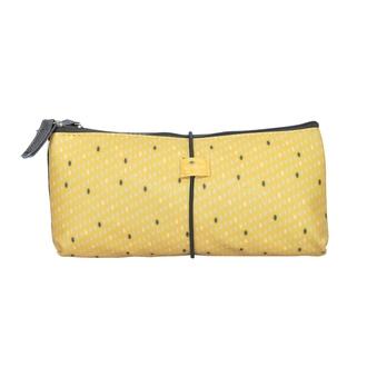 ZODIO - Trousse de toilette en coton enduit jaune petits points - La Métro boulot soirée - 22x2.5x10cm