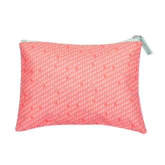 ZODIO - Trousse de toilette en coton enduit corail petits points - Ma pochette de jour - 22x15cm