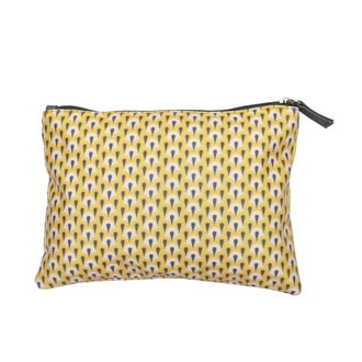 ZODIO - Trousse de toilette en coton enduit jaune petites écailles - Ma pochette de jour - 22x15cm