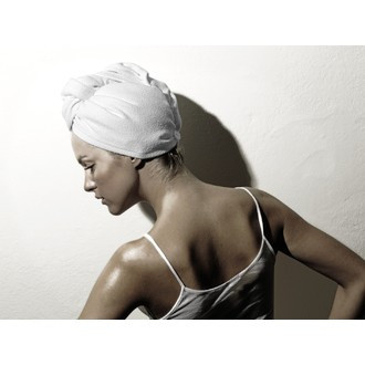 Turban pour cheveux en microfibre blanc
