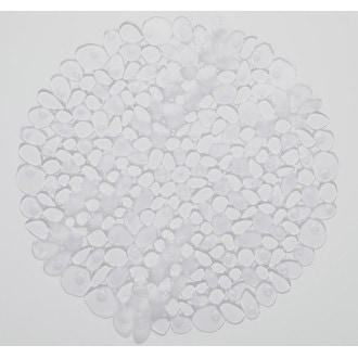Tapis de douche rond antidérapant, galets transparent diamètre 57cm