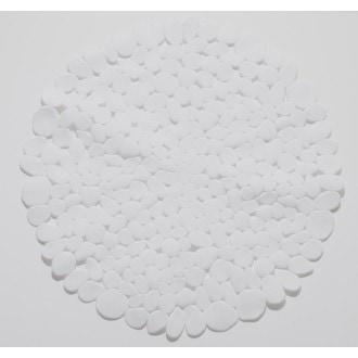 Tapis de douche rond antidérapant, galets blanc diamètre 57cm