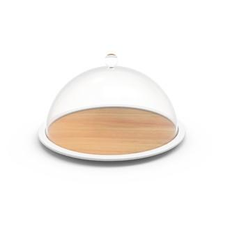 ZAK - Plateau à fromage hêtre avec cloche transparente 28x16cm